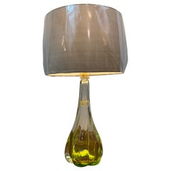 1950s Belgium Val St. Lambert Lime Green and Clear Crystal Table Lamp Inc Shade