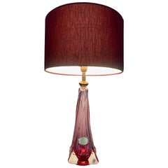 1950s Belgium Val St Lambert Pink & Clear Crystal Glass Table Lamp Include Shade
