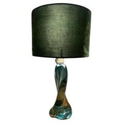 1950s Belgium Val St Lambert Signed Twisted Dark Green Table Lamp Shade