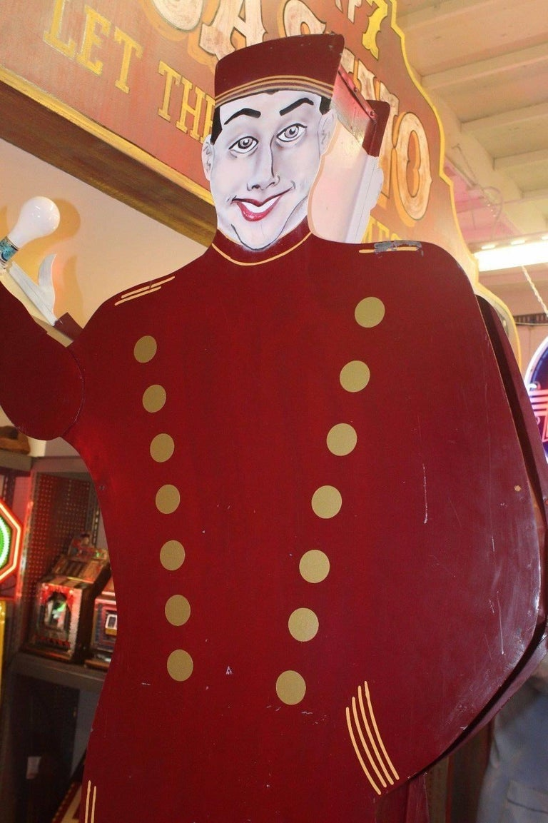 Mid-Century Modern 1950s Bellhop National Animated Sign Co. Double Sided Advertising For Sale