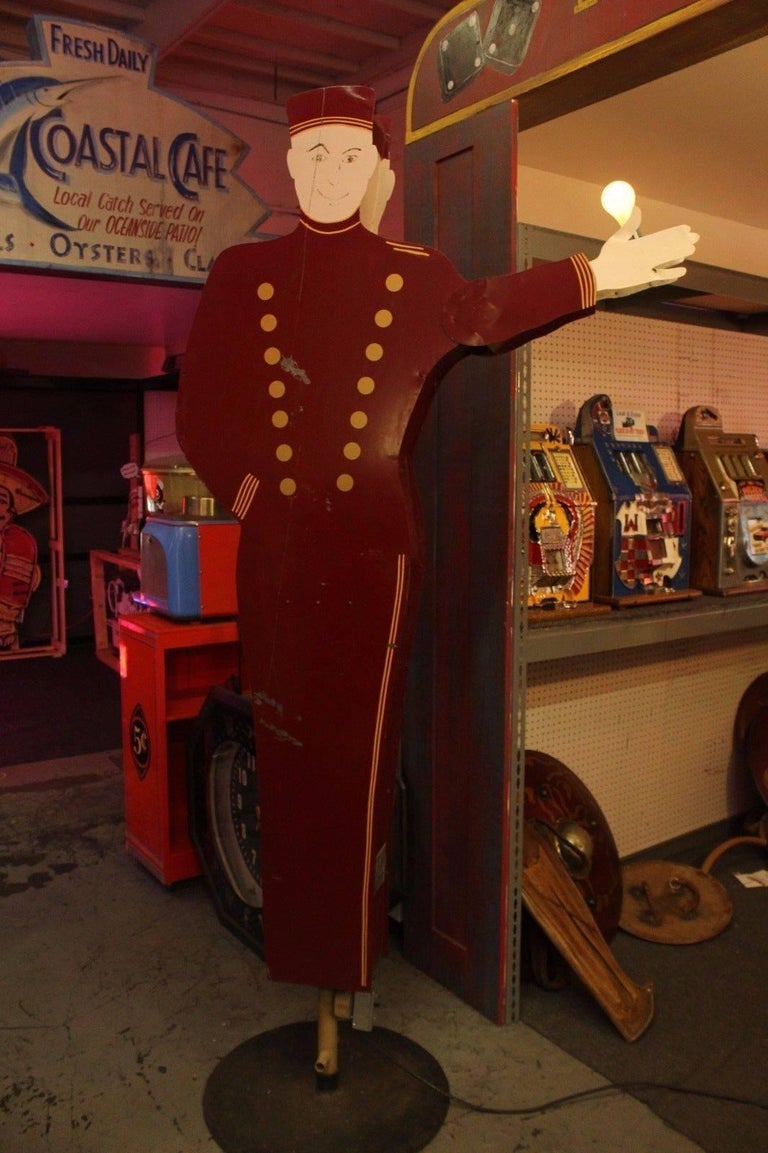 Other 1950s Bellhop National Animated Sign Co. Double Sided Advertising For Sale