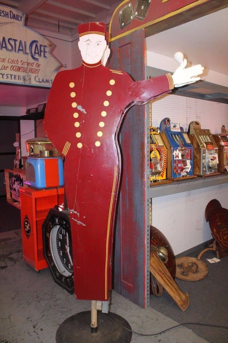 Metal 1950s Bellhop National Animated Sign Co. Double Sided Advertising For Sale