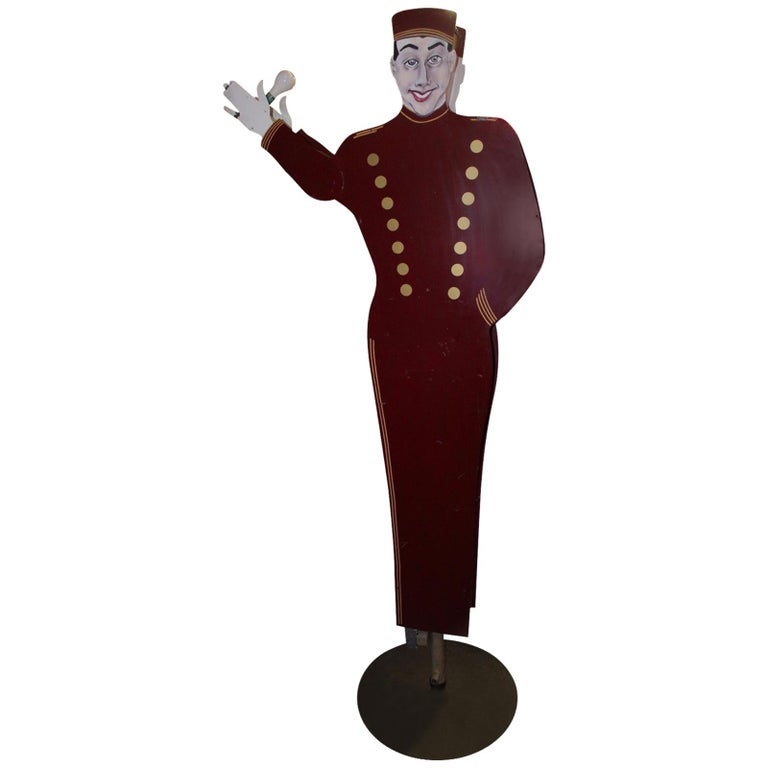1950s Bellhop National Animated Sign Co. Double Sided Advertising For Sale
