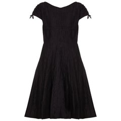 1950s Ben Reig Black Silk Ribbon Dress