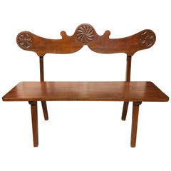 1950s Bench Solid Cherry Carved