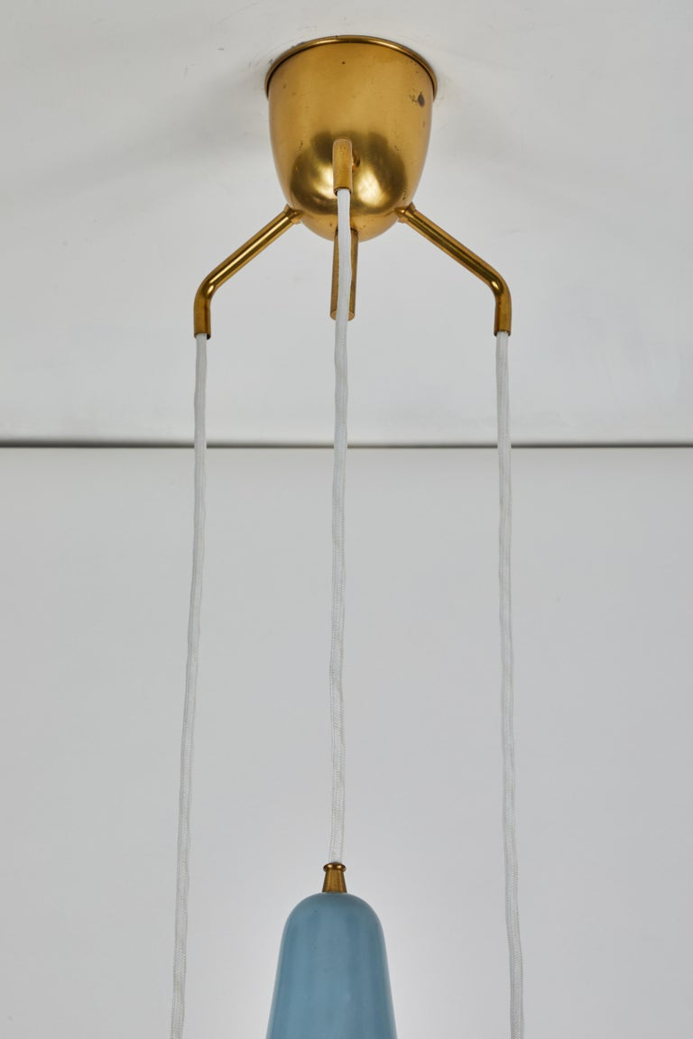1950s Bent Karlby 3-Cone Chandelier for Lyfa For Sale 7