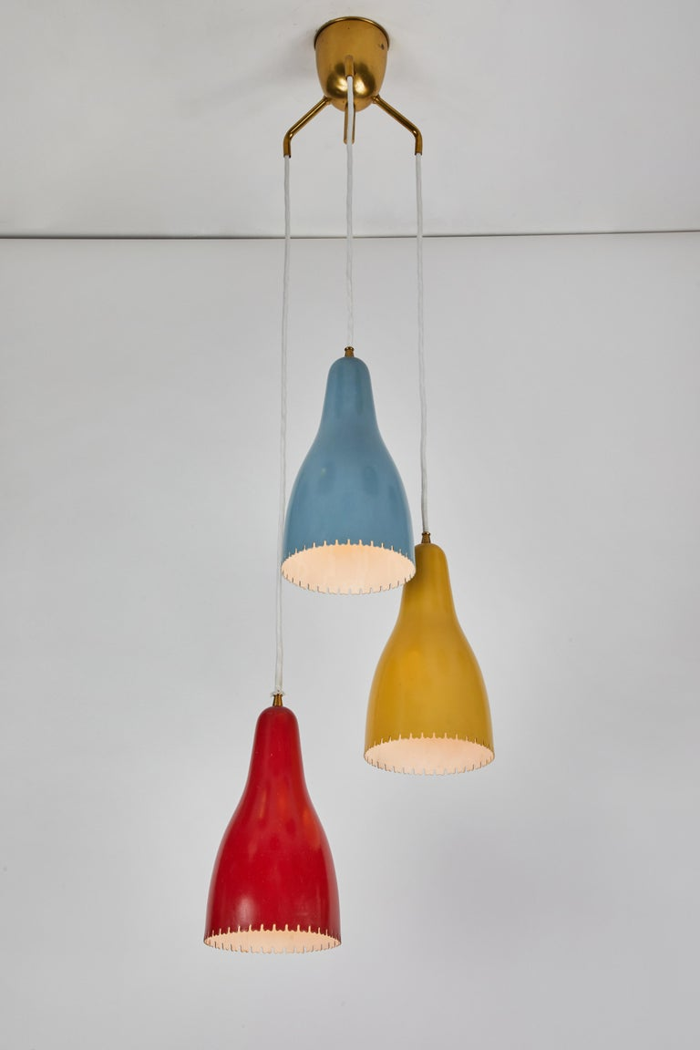 Danish 1950s Bent Karlby 3-Cone Chandelier for Lyfa For Sale