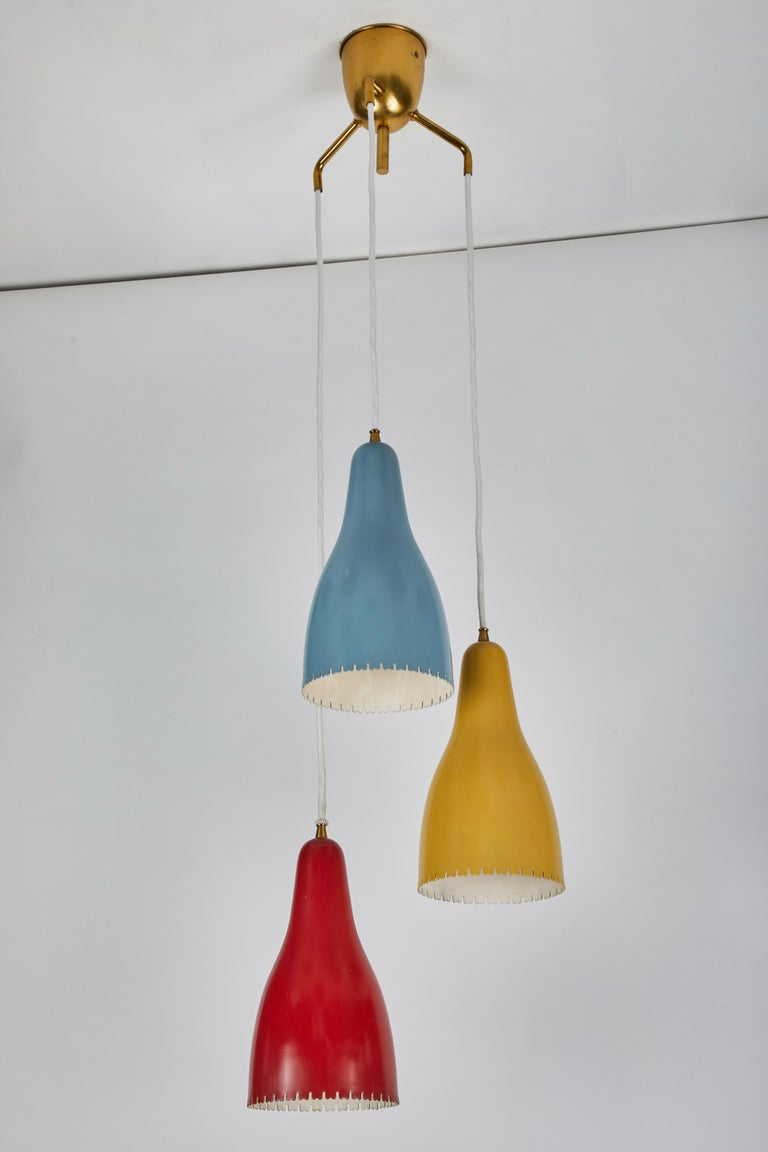 Painted 1950s Bent Karlby 3-Cone Chandelier for Lyfa For Sale