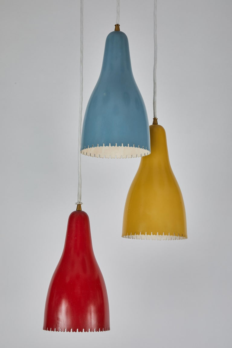 Mid-20th Century 1950s Bent Karlby 3-Cone Chandelier for Lyfa For Sale