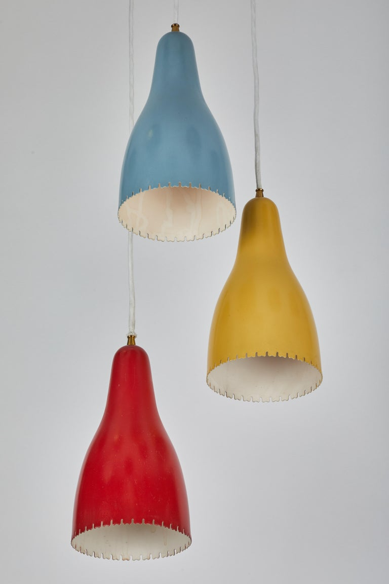 Metal 1950s Bent Karlby 3-Cone Chandelier for Lyfa For Sale
