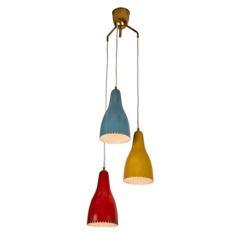 1950s Bent Karlby 3-Cone Chandelier for Lyfa For Sale