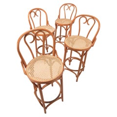 1950s Bentwood Cane Rattan and Wicker Bar Stools Thonet