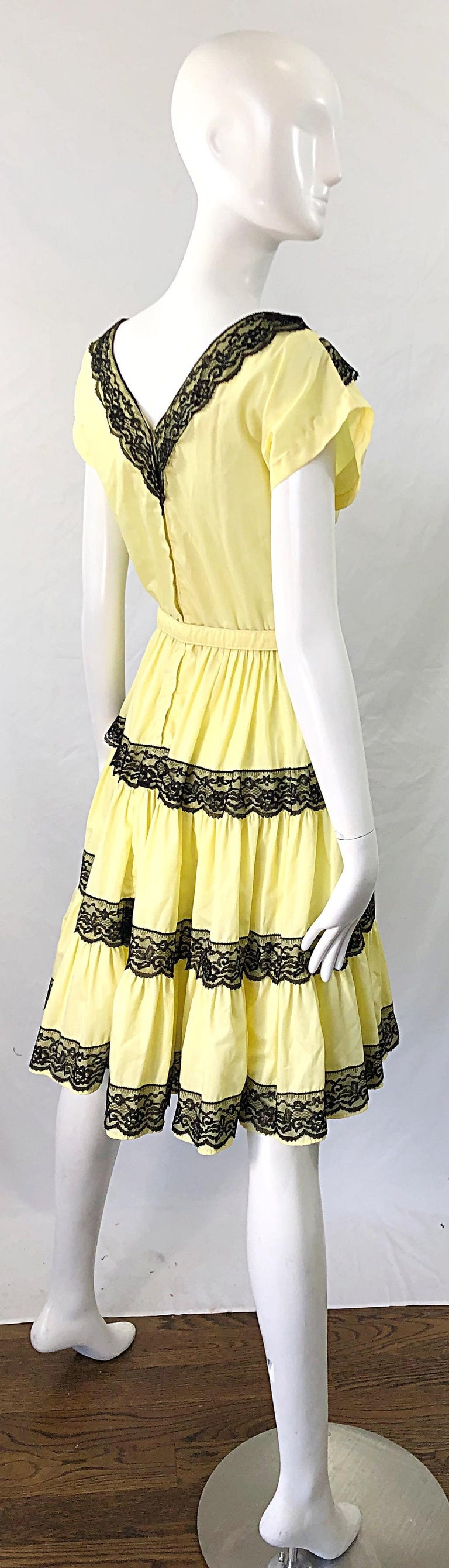 Beige 1950s Bettina of Miami Yellow + Black Cotton Lace Fit n' Flare Vintage 50s Dress For Sale