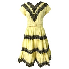 1950s Bettina of Miami Yellow + Black Cotton Lace Fit n' Flare Vintage 50s Dress
