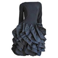 1950s Betty Carol Sculptural Ruffle Dress