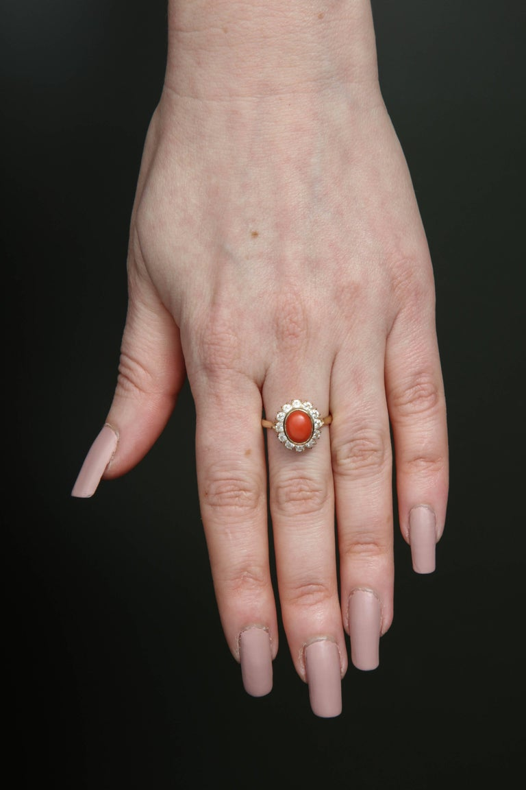 1950s Bezel Set Oval Coral with Diamonds Earrings and Ring Gold ...