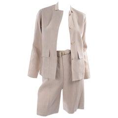 1950s Bill Atkinson Glen of Michigan Tan Linen Jacket & High Rise Shorts Suit