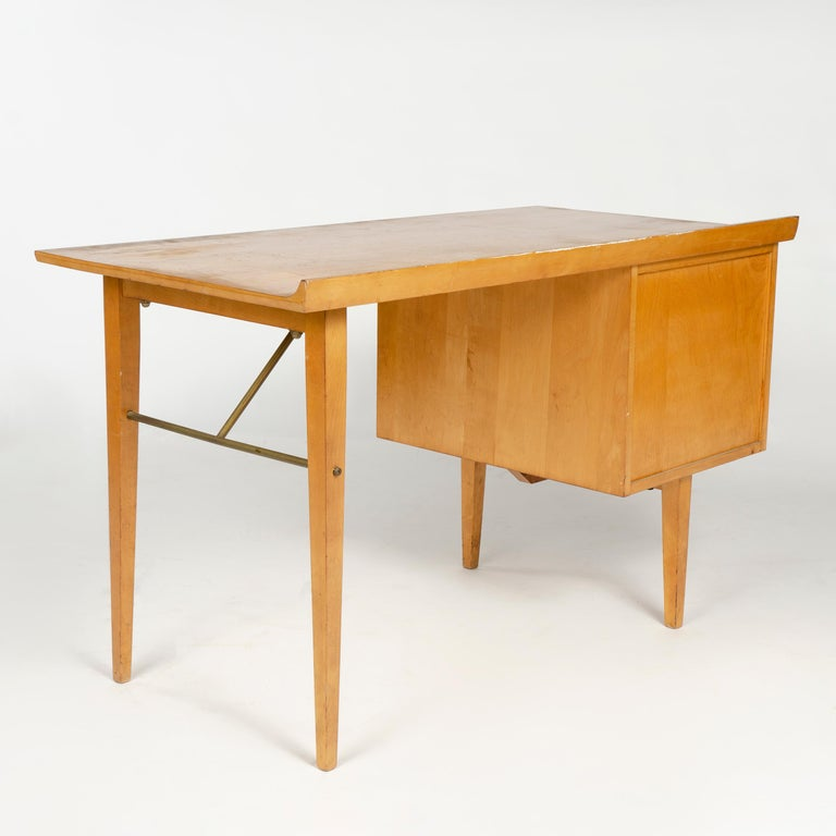 American 1950s Birch Desk by Milo Baughman for Thayer Coggin