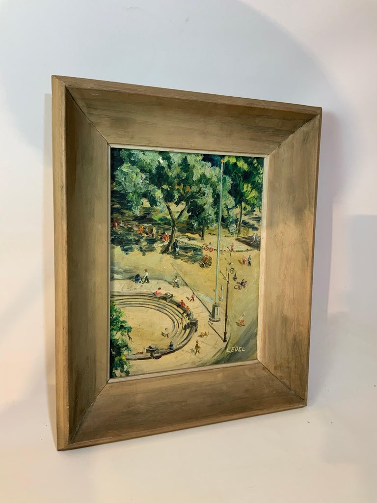 Leonore Edel created this fine little oil painting on canvas board in the 1950s from her apartment at 61 Washington Square Park South. The fun and amusement of a bright sunny day is captured at a time when The West Village was brimming with art,