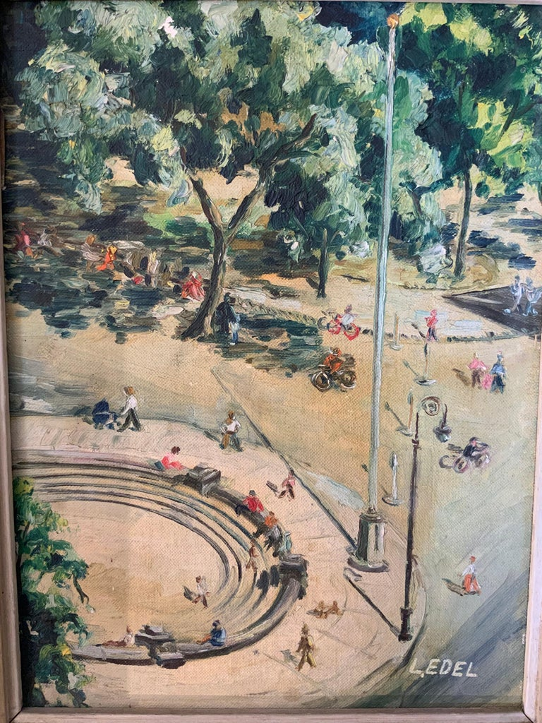 1950s Bird's Eye View of Washington Square Park Painting In Good Condition For Sale In Garnerville, NY