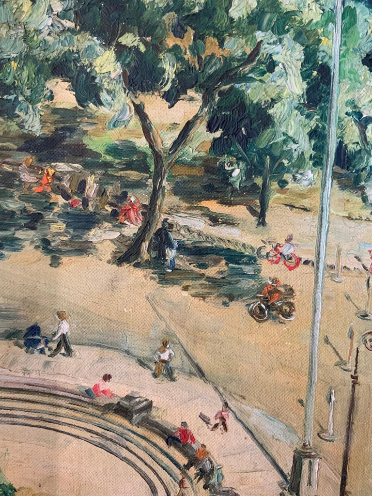 Mid-20th Century 1950s Bird's Eye View of Washington Square Park Painting For Sale