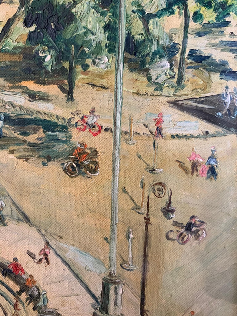 1950s Bird's Eye View of Washington Square Park Painting For Sale 1