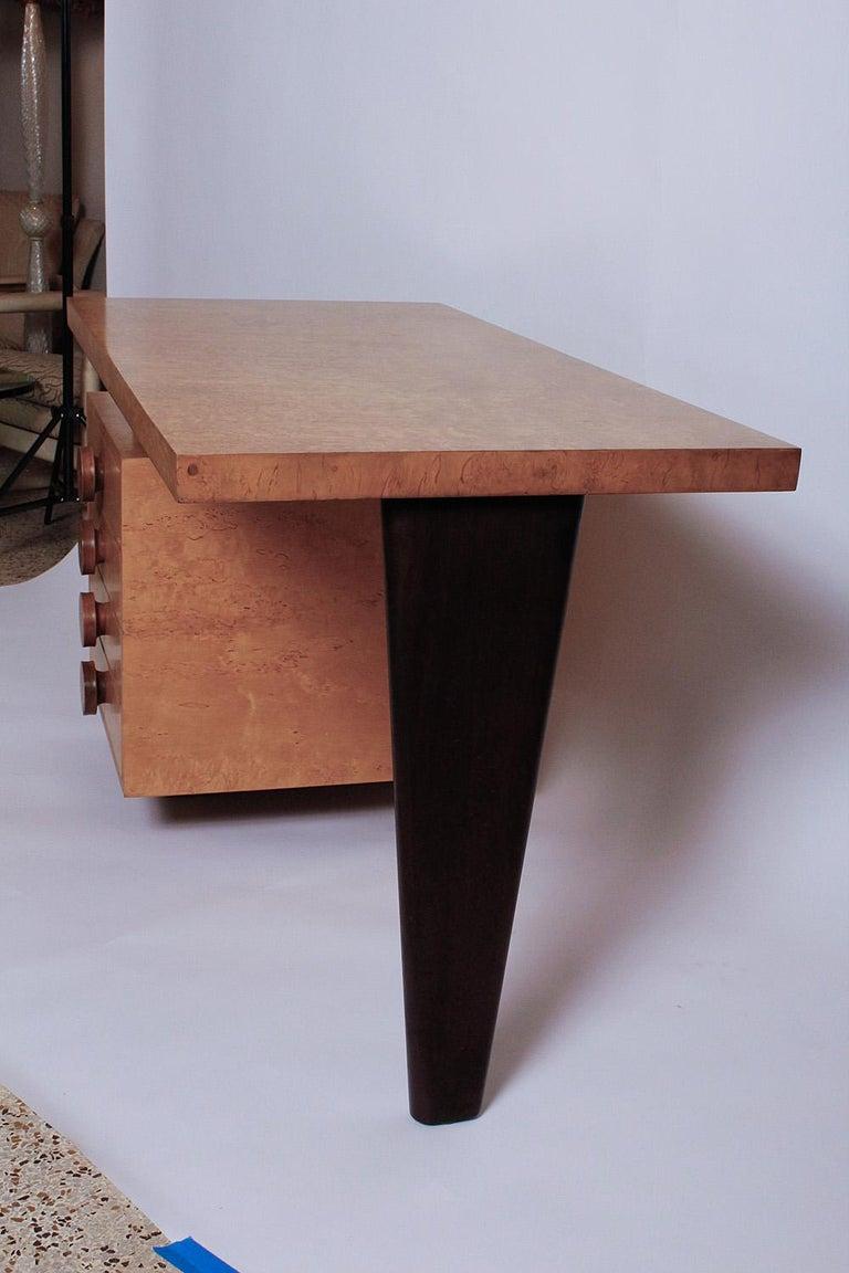 Mid-Century Modern 1950s Birdseye Maple Desk by Andrew Szoeke For Sale