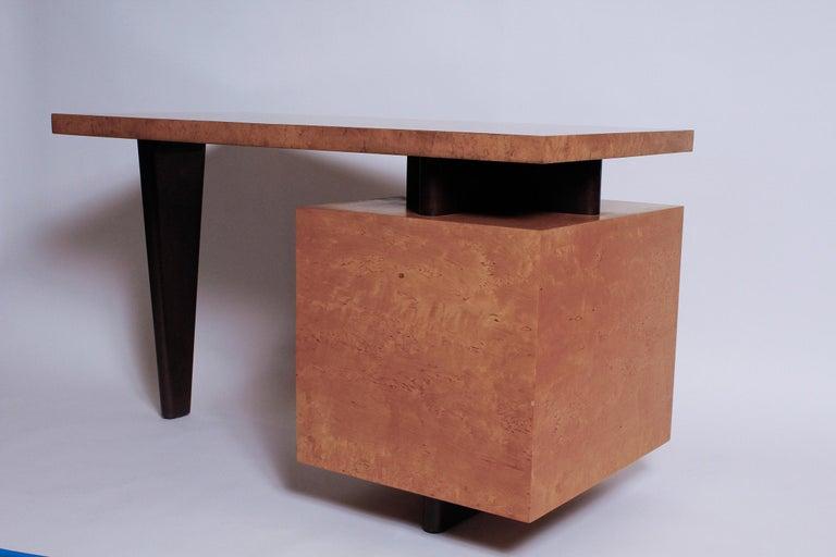 American 1950s Birdseye Maple Desk by Andrew Szoeke For Sale