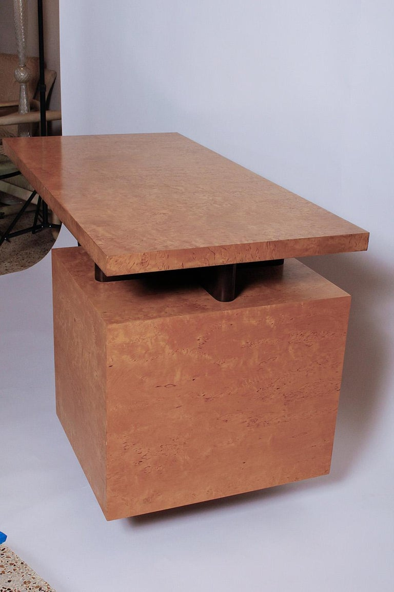 Inlay 1950s Birdseye Maple Desk by Andrew Szoeke For Sale