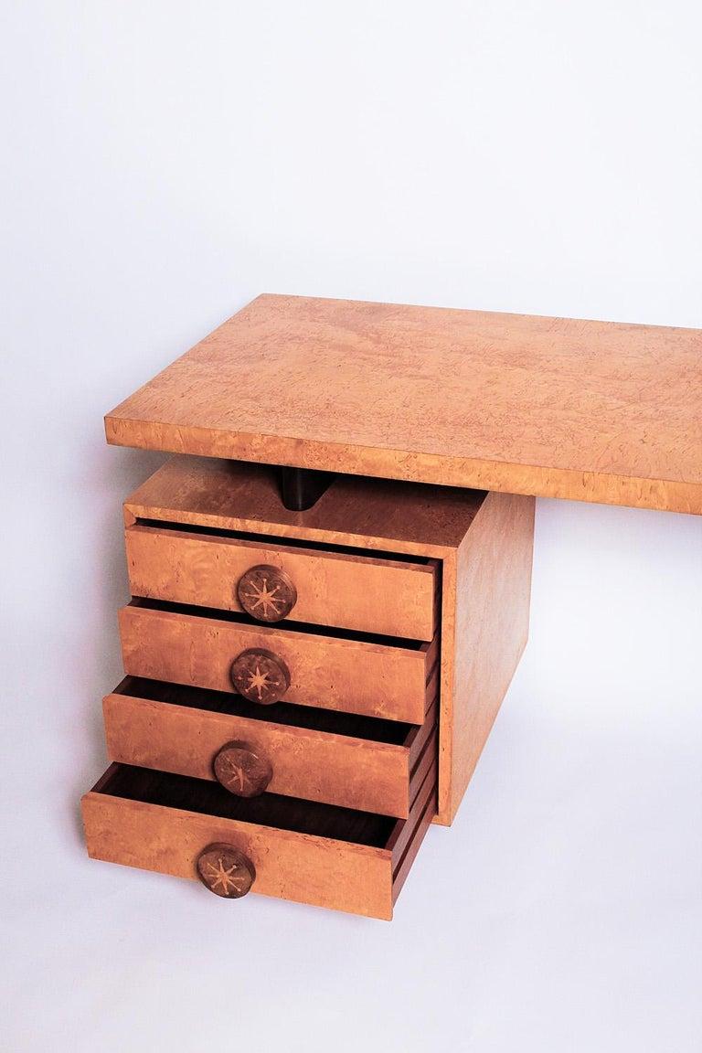 Mid-20th Century 1950s Birdseye Maple Desk by Andrew Szoeke For Sale