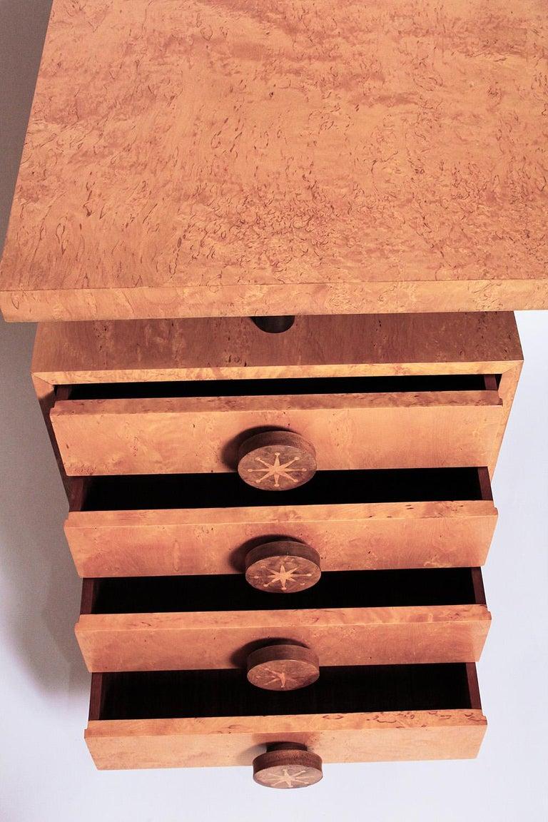 1950s Birdseye Maple Desk by Andrew Szoeke For Sale 1