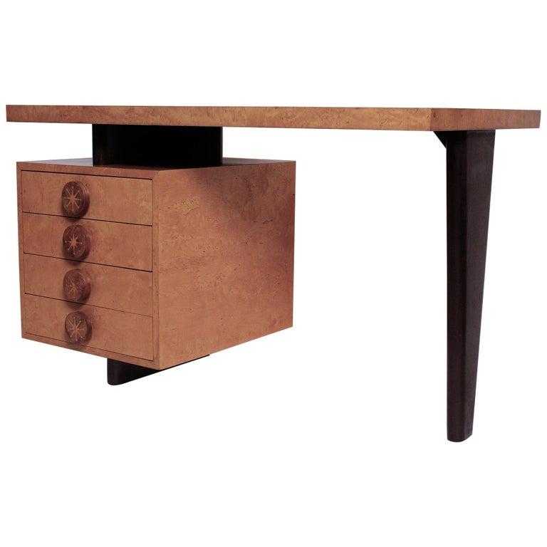 1950s Birdseye Maple Desk by Andrew Szoeke For Sale