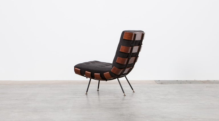 Italian 1950s Black and Brown Lounge Chair by Martin Eisler and Carlo Hauner For Sale