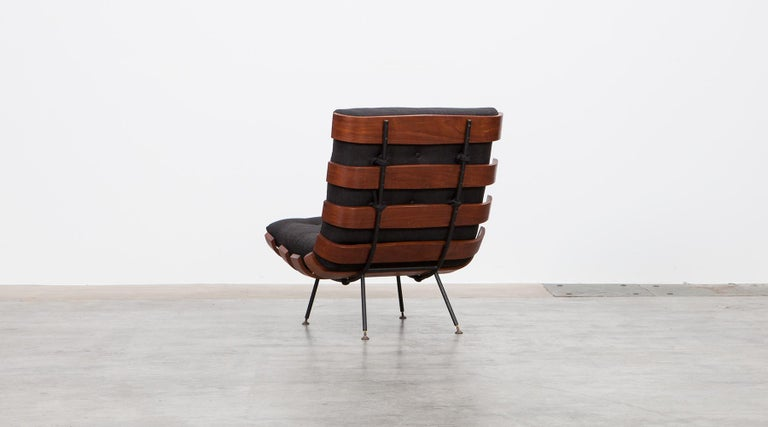Mid-20th Century 1950s Black and Brown Lounge Chair by Martin Eisler and Carlo Hauner For Sale