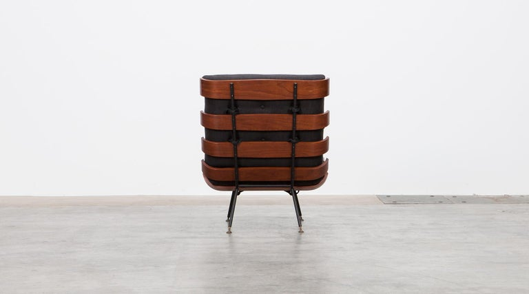 Plywood 1950s Black and Brown Lounge Chair by Martin Eisler and Carlo Hauner For Sale