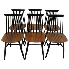 1950s Black and Walnut Dining Chair in the Style of Imari Tapiovaara Set of 6