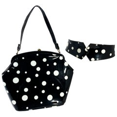 1950s Black and White Polka Dots Leatherette Purse with Matching Belt