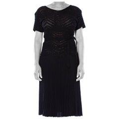 1950S Black Beaded Rayon Knit Wiggle Dress