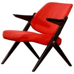 1950s, Black Birch Red Wool Lounge Chair by Bengt Ruda for Nordiska Kompaniet