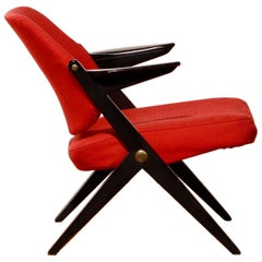 1950s, Black Birch Red Wool Lounge Chair by Bengt Ruda for Nordiska Kompaniet