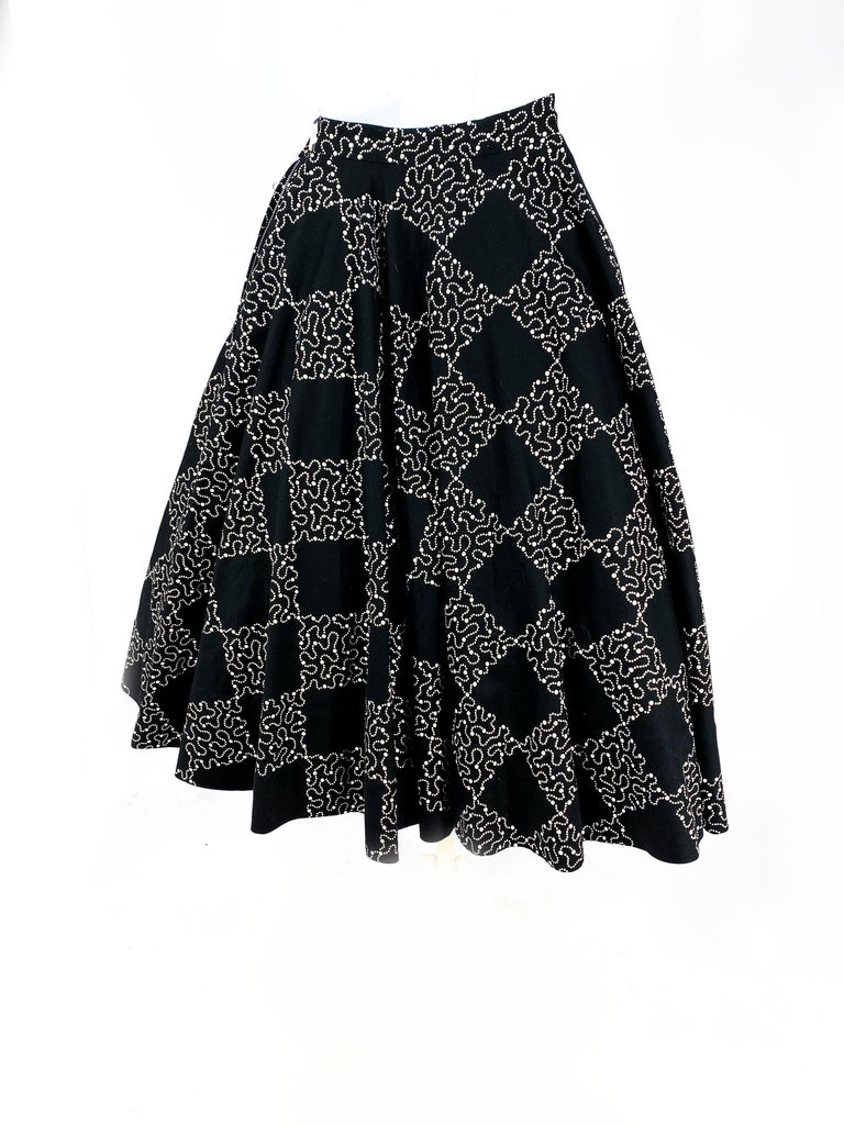 Women's 1950s Black Checkerboard Printed Circle Skirt For Sale