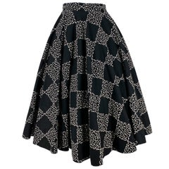 1950s Black Checkerboard Printed Circle Skirt