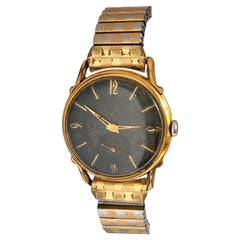 1950s Black Dial Gold-Plated and Stainless Steel Back Swiss Mechanical Watch