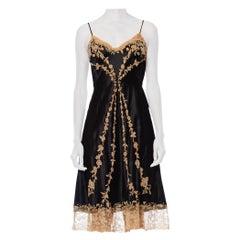 1950S Black & Ecru Haute Couture Silk Charmeuse Bias Slip Dress With Hand Appli