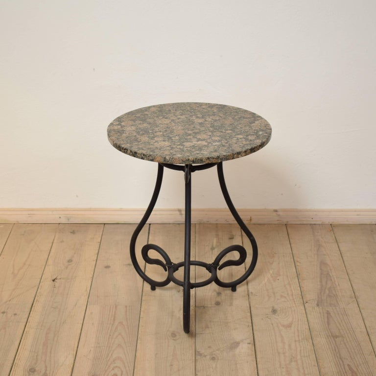 Arts and Crafts 1950s Black Forged Iron Side Table with Granite Top For Sale