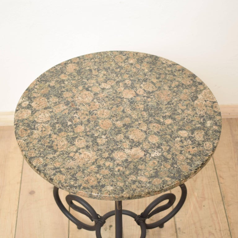 German 1950s Black Forged Iron Side Table with Granite Top For Sale
