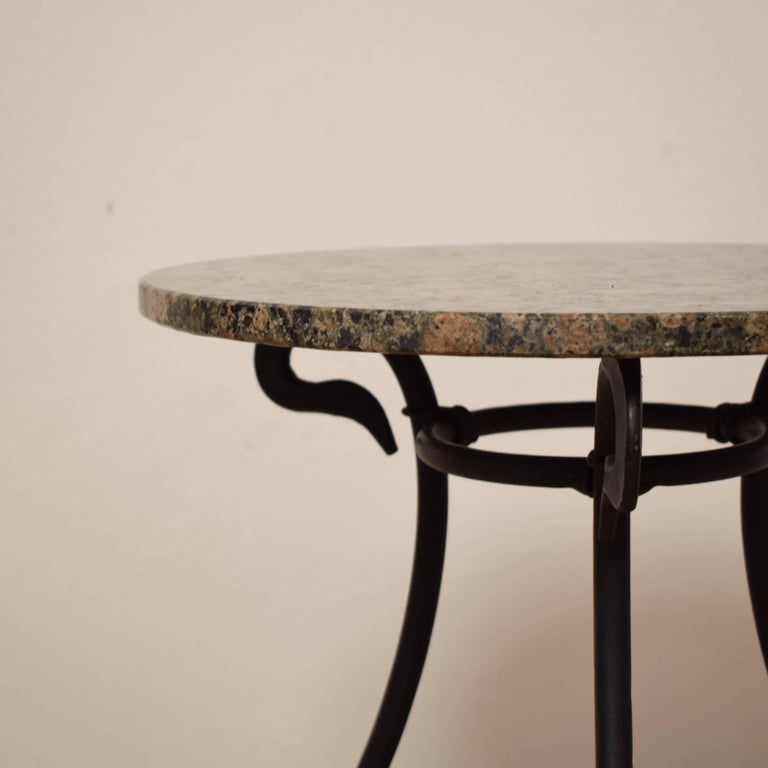 20th Century 1950s Black Forged Iron Side Table with Granite Top For Sale