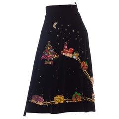 1950s Black Hand Beaded Cotton Velvet Santa's Toy Train Skirt
