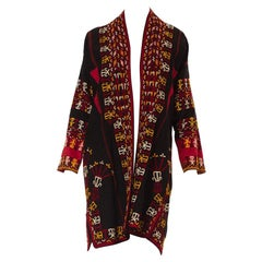 1950S Black Hand Embroidered Silk Middle Eastern Duster Coat Lined With Cotton