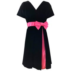 1950s Black + Hot Pink Velvet Silk Fit n' Flare Vintage 50s Couture Dress